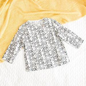 Hot Cotton •Snake Print 3/4 Sleeve Button Top